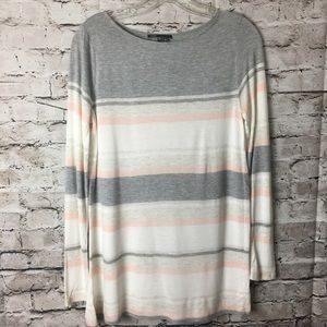 Vince Jersey Knit Striped Top Cotton Long Slv Tee
